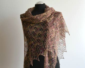 Multicolored hand knitted silk lace shawl triangular handmade