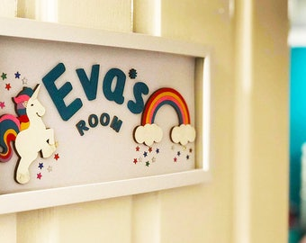 Personalised, bespoke and unique hand painted decorative girls name plaque