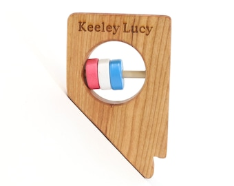 NEVADA State Baby Rattle™ - Modern Wooden Baby Toy - Organic and Natural
