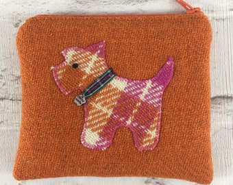 Beautiful orange Harris Tweed Coin Purse, mini cosmetic pouch, sewing kit pouch