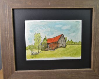Original Watercolor Painting - Little House on a Hill - Pen and Ink Art