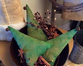 Set of three primitive Christmas tree bowl fillers(large)