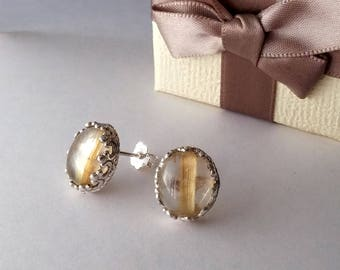 Earrings in rutilated quartz silver 10x12 mm