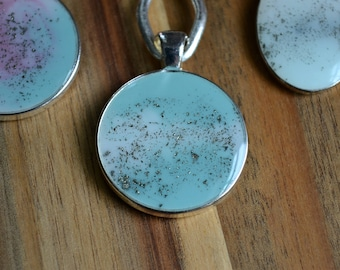 Circle Abstract Resin Pendant - Teal/White
