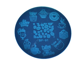 Round Nail Art Stamp Stamping Plates Template Butterfly, Leaves, Coffee, Bee