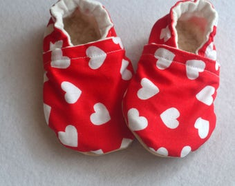 heart baby shoes red baby shoes heart booties baby girl shoes hearts baby booties red heart slippers rubber  sole booties red white shoes