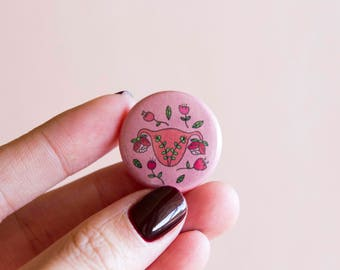 "Blooming Uterus Feminist Pin- 1"" Pinback Button Birth Fertility Feminist Gift Reproductive Rights Women's Rights"