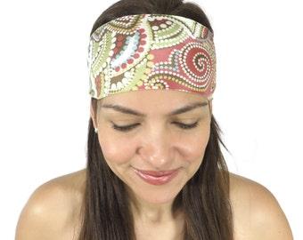 Boho Headband Running Headband Workout Headband Yoga Headband Fitness Summer Headband Mozaica Print Headband  Wide Women Headband Turban S97