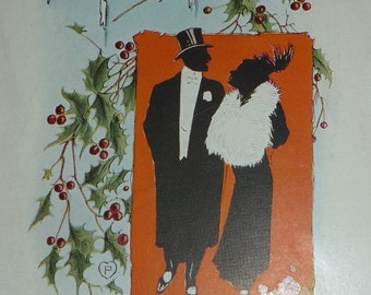Silhouette Couple Antique New Year Postcard - Pink of Perfection