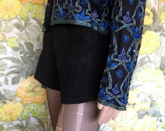 Back to Black - black leather shorts - high waist shorts - biker shorts - high waisted leather shorts - 90s shorts -  90's leather hot pants