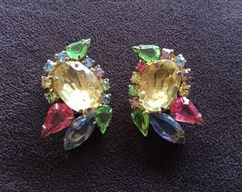 Juliana? Pastel Pink, Purple, Yellow, Green and Blue Rhinestone Earrings 1409
