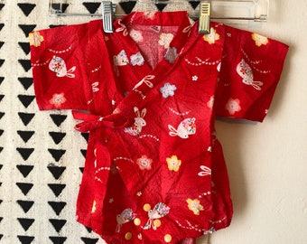 Vintage, baby, kimono, onesie