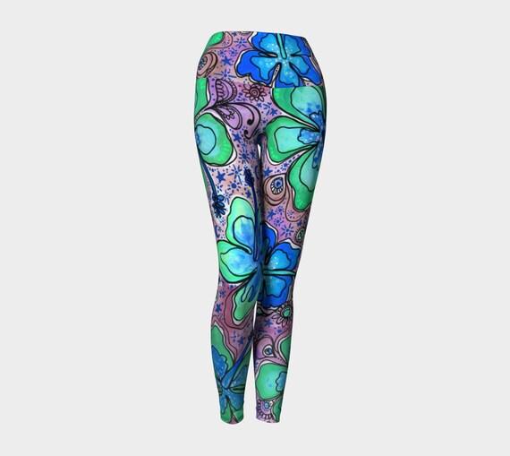 Bright Tropical Hibiscus Yoga Leggings or Capri in Light Pink and Seafoam Green by Lauren Tannehill Art