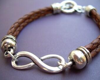 Leather Bracelet, Infinity Bracelet, Infinity, Mens Bracelet, Womens Bracelet , Saddle Braided