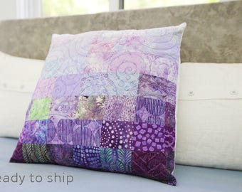 Modern Patchwork Pillow Quilted 20 x 20 Decorative Purple Quilt Art Pillow Toss Pillow Amethyst Theme Decor Bedroom Accessory Modern Home