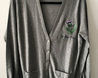 Je Suis Prest Embroidered Cardigan, Scottish Thistle and Clan Fraser Motto, New Vintage Embroidery