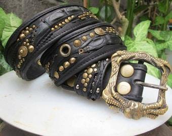 Men Leather Belt, Steampunk design, studded belt