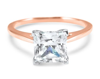 14k Rose Gold Cathedral CZ Cubic Zirconia Princess Cut  Solitaire engagement ring - 14k Rose Gold - 14k Yellow Gold -dome ring - mounting