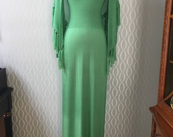 Gorgeous in Green 1960's Maxi Sweater Dress & Shawl by Suzanne Lynn for Jon Michel