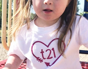 """Down Syndrome Awareness Shirts ~ White T-shirt with Pink """"T21"""" Logo with Arrow Heart, perfect for representing T21 in pink!"""