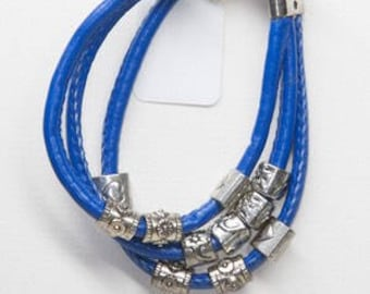 Blue leather bracelet with statement beads