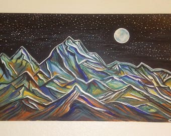 Moonlight  Gaze Mountain art. Acrylic on canvas. 24x12 inches.