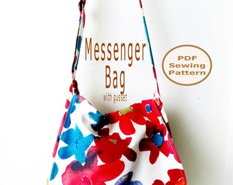 Messenger Bag PDF Sewing Pattern | PDF Bag Pattern | Large Bag Pattern | Adjustable Shoulder Strap Bag Pattern