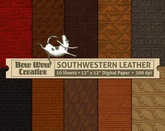 10 Stamped Leather, Southwestern, Native American Pattern, Digital Scrapbooking Paper, Scrapbooking, Southwestern Patterns