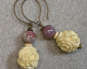 Vintage Chinese Carved Bone FLOWER Dangle Drop Bead Earrings, Vintage Plum Purple Glass, Handmade Brass Ear Wires - GIFT WRAPPED