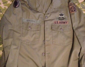 Vintage U.S. Army fatigue shirt 82nd ABN