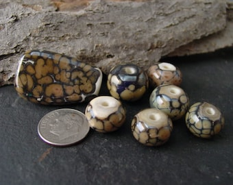 Handmade Lampwork Glass Bead Set. Jewelry Supply. Mocha and Ivory. LWS-44