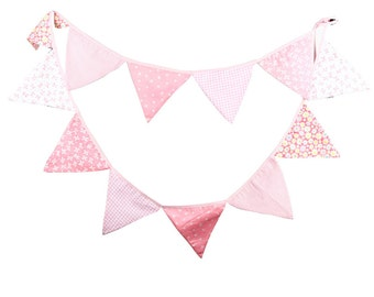 Pink Vintage Floral Bowknot Wedding Banner Birthday Party Bunting Fabric Pennant Flag Baby Shower Party Hanging Decoration