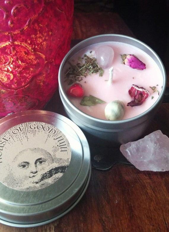 Love Drawing Soy Candle infused with Rose Quartz and Red Coral