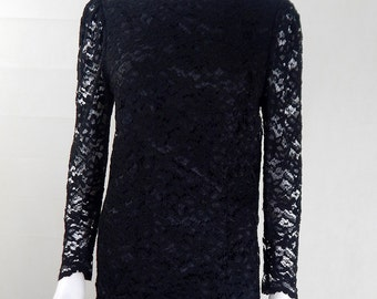 Original Vintage 1970s Black Lace Top UK Size 10/12