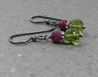 Peridot, Ruby Earrings Lime Green August July Birthstone Oxidized Sterling Silver Earrings