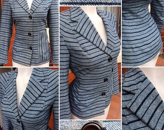 SALE****Super Stylish 1940s CC41 Utility Blue Striped Wool Jacket!
