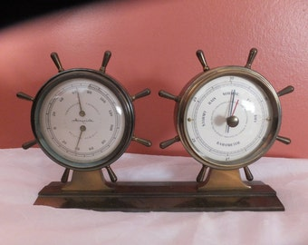 Vintage Airguide Brass Ship's Wheel Nautical Weather Station Desktop Thermometer And Barometer