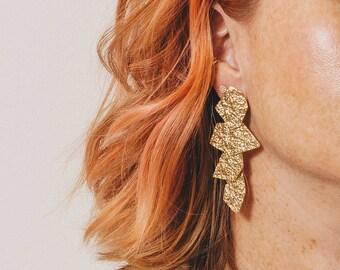 Fashion Long Earrings Crinkle Metal Chandelier Earrings Gold Chandelier Tiered Earrings All Metal Earrings Light Earrings Janna Conner
