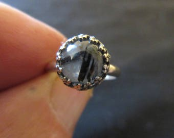Sterling Silver Rutilated Quartz Ring - Size 7 - FREE RESIZING