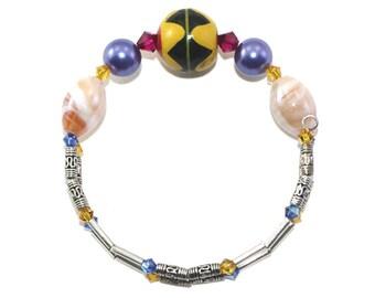 Colorful Ethnic Bracelet, African Bracelet, Tribal Bracelet, Stacking Cuff, Layering Bracelet, Boho Style Bracelet, Hippie Bracelet