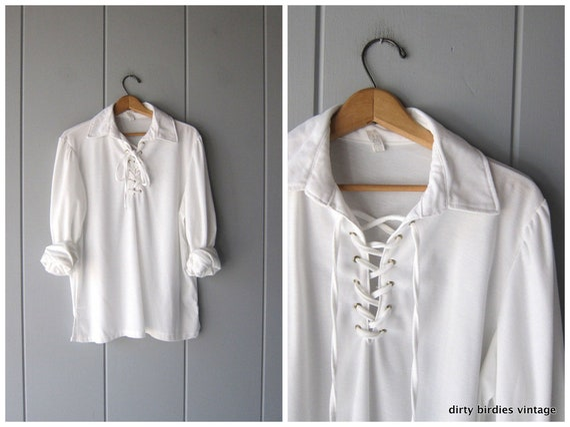White Lace Up Tie Collar Shirt 70s Folk Blouse Boho Peasant Shirt 1970s Slouchy Hippie Minimal Blouse Vintage Womens XL Large