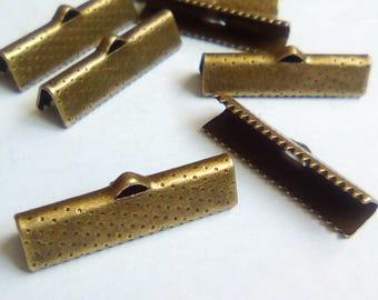 4 25x16mm bronze metal Ribbon ties