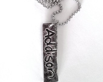 Father's Day - Your Children's Signature Necklace on a Vertical Pendant Made to order