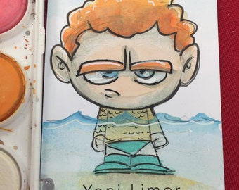 Aquaman (Arthur Curry)- WATERCOLOR Sketch Card ACEO original art