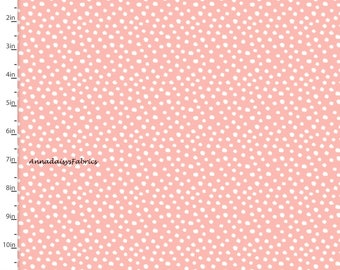 Light Coral Dot Fabric, Coral & White Dot Quilt Fabric, 3 Wishes Little Forest 12946 Lt Coral, Dot Fabric, Cotton Yardage