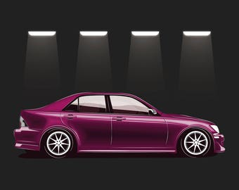 Charming JDM Toyota Altezza / Lexus IS 200 Poster / Vector Clipart