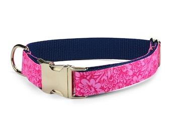Talula Belle Dog Collar, Pink Floral Dog Collar, Pink Dog Collar, Preppy Dog Collar, Stylish Dog Collar, Trendy Dog Collar, Girl Dog Collar