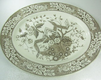Serving platter, Large Wedgwood Platter,Wedgwood plate, Beatrice Pattern, TransferWare,collectable plate,brown, fine China, English China,