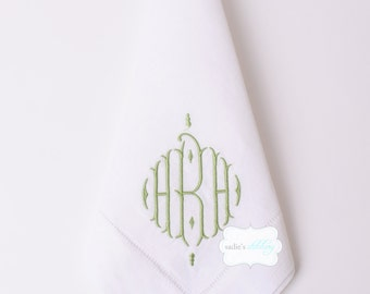 Set of 4 Hemstitched White Linen Dinner Napkins with Standard Monogram