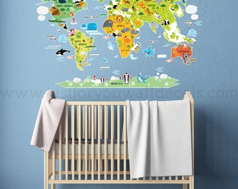 Map wall decal kids map wall decal animal map wall decal map wall decal kids map wall decal playroom wall decals playroom wall decal gumiabroncs Images